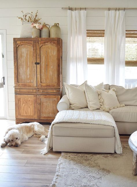 how to design a neutral living room decor with farmhouse living room design and . how to design a neutral living room decor with farmhouse living room design and vintage armoire wit Living Room Sectional, New Living Room, Sectional Sofa, Living Room Furniture, Living Room Decor, Cozy Living, Vintage Armoire, Design Salon, French Country Living Room