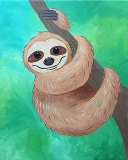 Sweet Sloth Https Www Pinotspalette Com Amherst Sloth Art Animal Paintings Cute Canvas Paintings