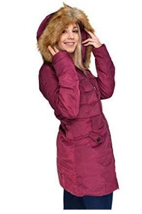 Plush Lined Warm Womens Hooded Coat Zip Long Winter Jacket QWEWQE Womens Winter Coat Thick Windproof Winter Jacket Warm Sports Coat