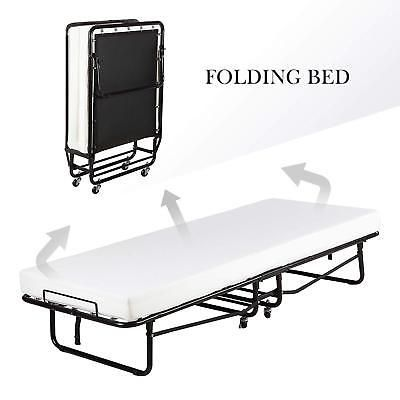 Twin Size Rollaway Folding Metal Bed Frame Guest Bed With 4