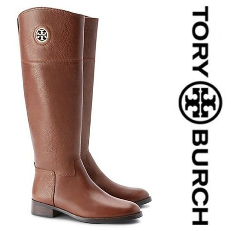 🔥Tory Burch   Junction Leather Riding Boots NIB New in box authentic Tory  Burch Junction leather riding boots in almond. dd46c63e1793