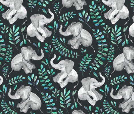 Wallpaper Laughing Baby Elephants With Emerald And Turquoise Leaves Large Print Elephant Wallpaper Elephant Phone Wallpaper Elephant Background