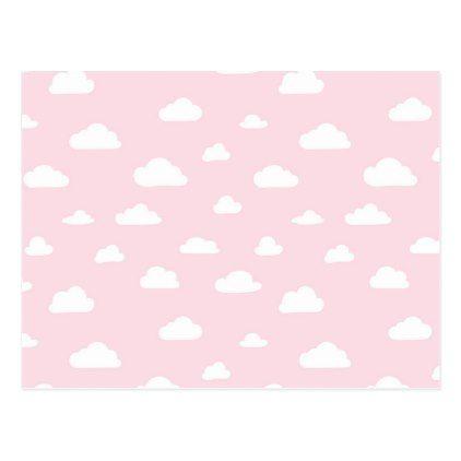 White Cartoon Clouds On Pink Background Pattern Postcard Zazzle Com In 2021 Cartoon Clouds Background Patterns Pink Background