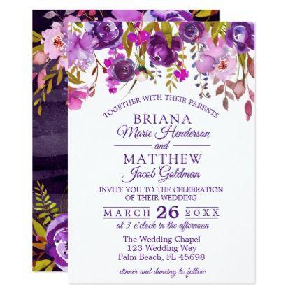 Elegant Purple Wedding Invitation Dark Florals Zazzle Com