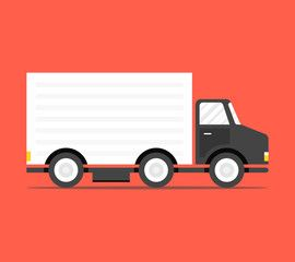 Concept Of The Shipping Service Truck Van Of Delivery Rides At