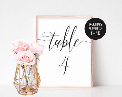 Wedding Table Numbers Printable, Table Numbers Wedding, Instant