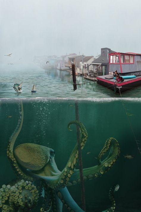 Shipwreck by Kate Harrold - Small (Giclee Print) Mythical Creatures Art, Ocean Creatures, Fantasy Creatures, Dark Fantasy Art, Fantasy Artwork, Scary Ocean, Arte Obscura, Creepy Art, Kraken