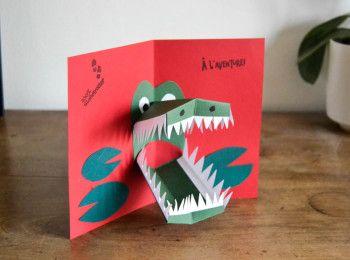 carte pop up à fabriquer Carte pop'up crocodile | Cartes pop up, Carte anniversaire enfant