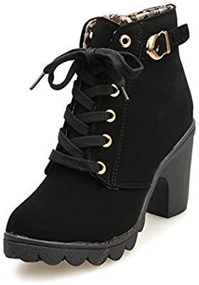001bb7a796f25 Amazon.com: Gotd Women High Heel Boots Lace Up Ankle Buckle Platform ...