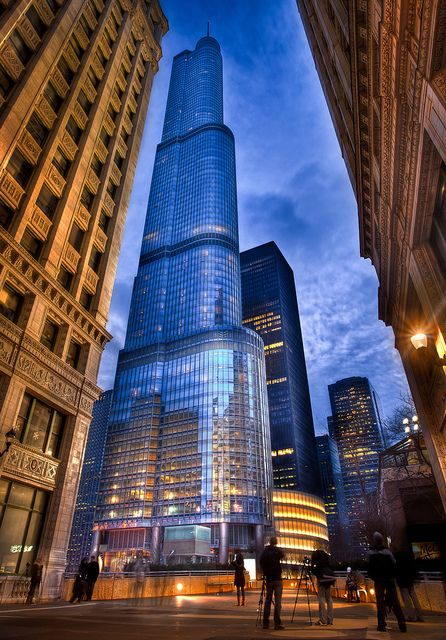 One of Chicago's newest buildings, Trump International Hotel and Tower. It was completed in 2009 and is the second tallest building in Chicago (after Willis, formerly Sears, Tower). Photo by Out Of Chicago.