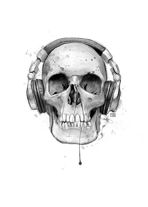 Skull With Headphones - Art Print - Handmade Artwork