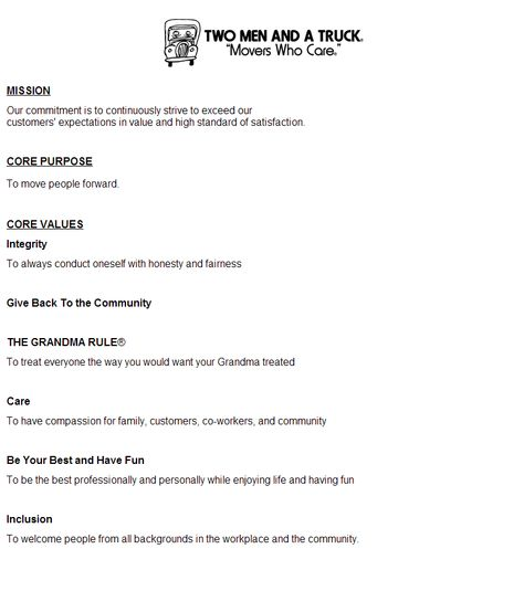 core values Two Men and a Truck Pinterest - mover resume