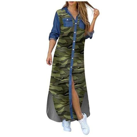 Autumn Long Dress Long Sleeve Shirt Dress Women Denim Long Dresses Pocket Button Shirt Print Dress Casual Loose Dresses 2020 - Camouflage / XL / China
