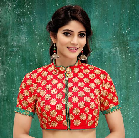 ff5c832d7721de Red colored embroidered two tone silk stitched blouse. Get 46% OFF At  Mirraw. ✦Free Shipping ✦COD ✦Exclusive Range ✦Easy Return #Blouse #Blouses  ...