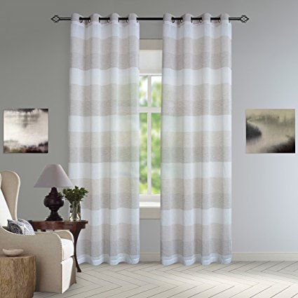 Dezene Stripe Sheer Curtains For Living Room 2 Panels Linen Look Grommet Curt Curtains Living Room Curtains Neutral Living Room Curtains Living Room Modern