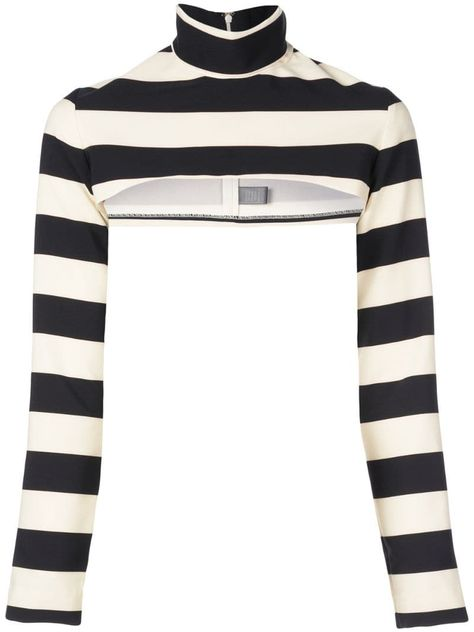 Long sleeve cropped striped shell with fold-over collar. Pictured with the Striped Strapless Bodice. Edgy Outfits, Cute Outfits, Fashion Outfits, Mode Kpop, Summer Outfits For Teens, Christian Siriano, Character Outfits, Look Cool, Types Of Fashion Styles