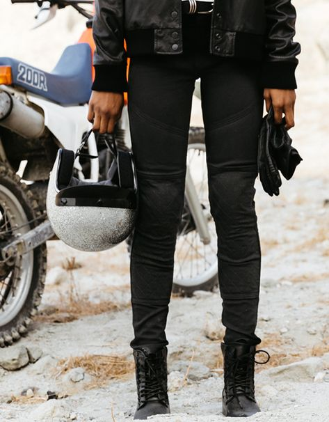 Skinny fit riding jeans designed to look good and wear well on and off the bike. ATWYLD motorcycle pants are designed for protection and style. Motorcycle Riding Gear, Motorcycle Jeans, Moto Jeans, Motorcycle Style, Motorcycle Outfit, Women Motorcycle, Scrambler Motorcycle, Womens Motorcycle Fashion, Honda Motorcycles