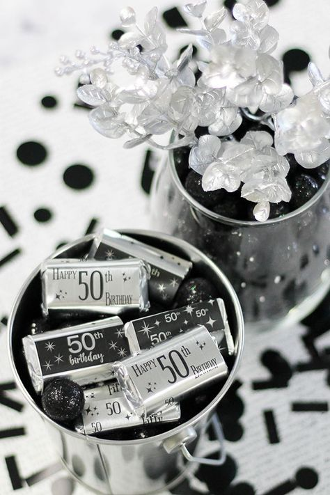 List Of Pinterest Black And Silver Party Decorations Candy Buffet
