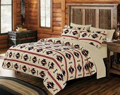 7 Pc Beige King Size Native Rustic Cabin Comforter Set Bedding