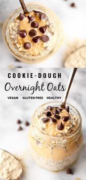 #Cookie #dough #Oats #Overnight #ProteinPacked #vegan Breakfast just got better! This healthy and easy recipe for vegan cookie dough overnight oats in a jar is dairy free, gluten free, and even has chocolate chips. It's also packed with protein to start your day right! #overnightoats #dairyfree #healthy