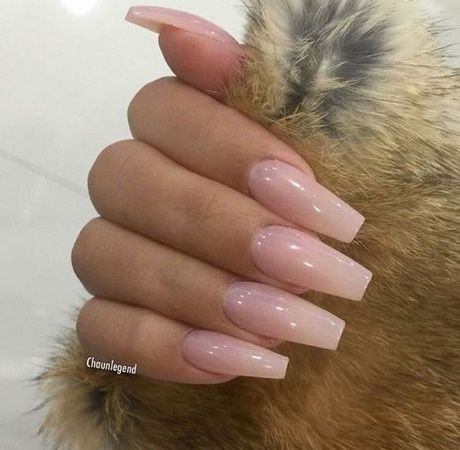 clear pink acrylic nails with glitter  nail and manicure