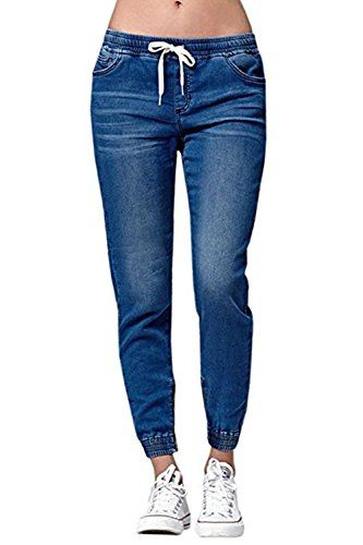 Womens Jogger Denim Jeans Elastic Drawstring Waisted Stretchy Classic Pants Pantalones Jogging Mujer Pantalones De Moda Pantalones Mujer