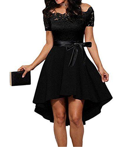 Damen Cocktailkleid Elegantes Festliches Abendkleid Spitzenkleid Knielang Schulterfrei Langarm Cocktailkleid Partykleid Kleider Damen