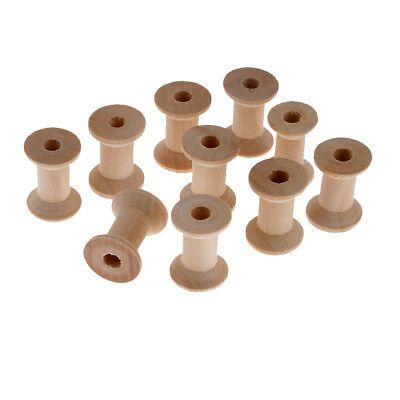 10x Wooden Empty Sewing Bobbins Spools Sewing Thread Ribbon Holder