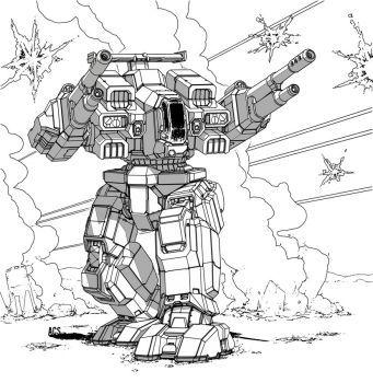 Image result for line art battlemech