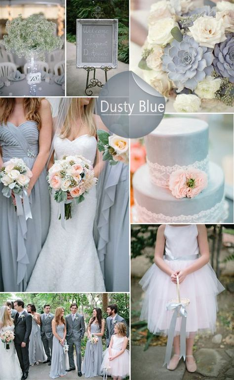 So neat - Wedding Colour Schemes 2017 - Top 10 Wedding Colors Ideas for 2017 We love this stunning, sophisticated dusty blue scheme.