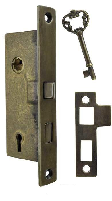 Recreated Skeleton Key Narrow 1 Backset Mortise Lock 2 1 4 Cc L 79l Mortise Lock Hardware Antique Brass