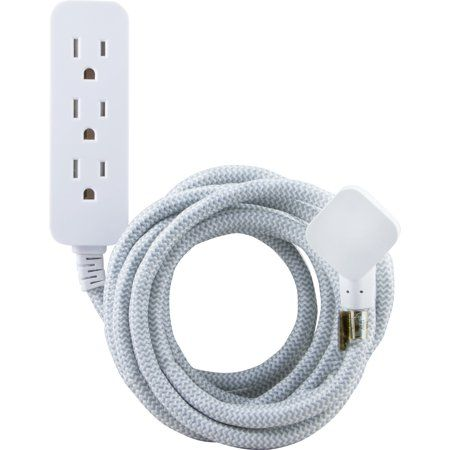 Cordinate Designer Extension Cord 3 Grounded Outlets 10 Foot Cord And Low Profile Plug Gray 39624 Walmart Com Extension Cord Cool Things To Buy Power Cord