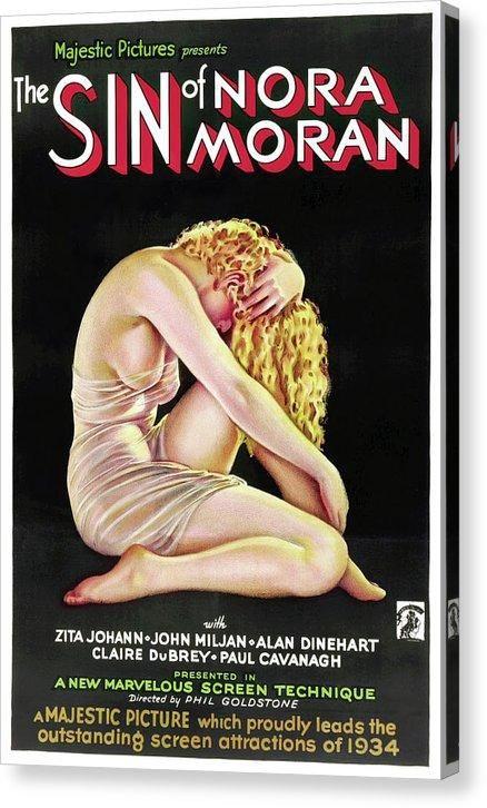 Vintage Sin of Nora Moran Movie Poster, 1933 - Canvas Print - 6.625 x 10.000 / Mirrored / Matte