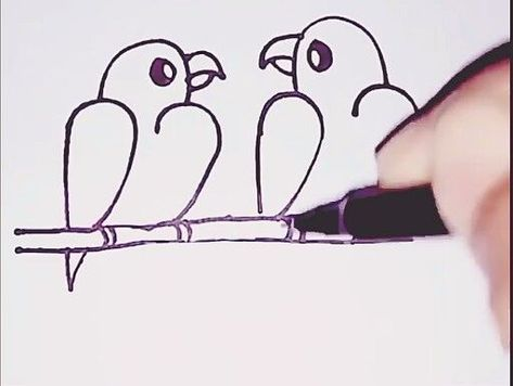 Easy Drawing Love Birds with Numbers