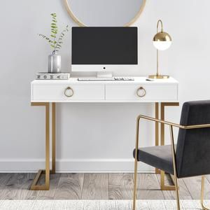Leighton Two Drawer Modern Desk White And Gold Finish Home Office Computer Desk Home Office Design Work Office Decor