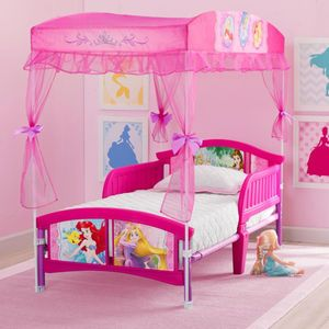 Disney Princess Canopy Toddler Bed Pink With Images Toddler