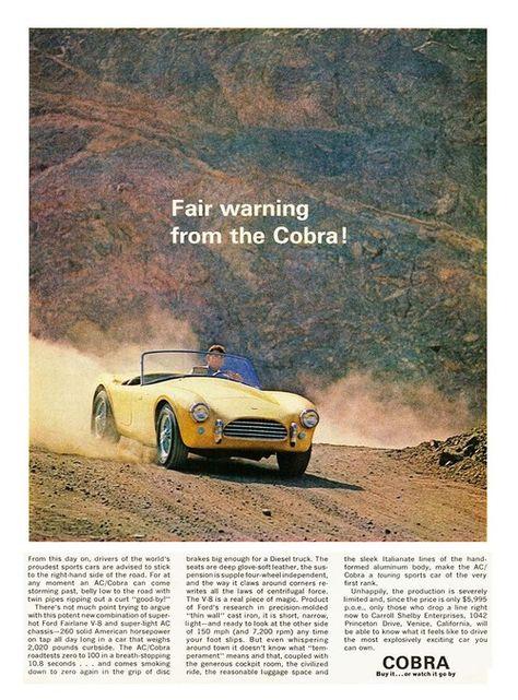 Rare Shot Car Poster Cobra Vs Corvette Los Angeles County Fairgrounds 1966
