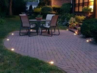 Patio Brick Lights Brick Patio Lighting Ideas Patio Brick Wall Lights In 2020 Patio Outdoor Stone Outdoor Gardens