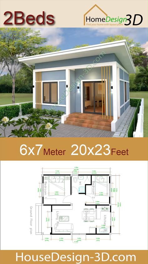 House Design 3d 6x7 Meter 20x23 Feet 2 Bedrooms Shed Roof  The House has:  -Car Parking and garden -Living room, -Dining room -Kitchen -2 Bedrooms, 1 bathroom -washing room