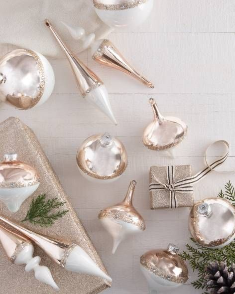Winter Wishes Rose Gold Ornament Set 12 Pieces By Balsam Hill Christmas Ornament Sets Christmas Themes Decorations Ornament Set