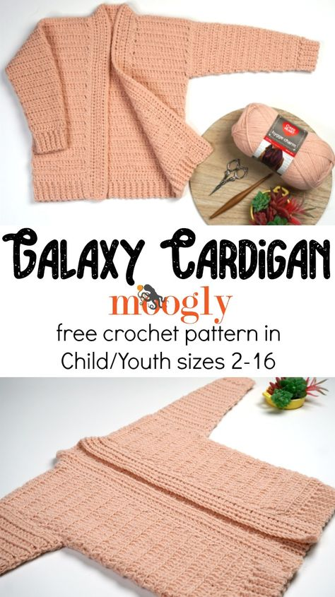 The Galaxy Cardigan has the same great easy fit, construction, and sparkle as the Cosmos Cardi - but in girls sizes 2 to 16! Get the free crochet pattern on Moogly, featuring Red Heart Hygge Charm!  #redheartyarns #hyggecharm #freecrochet #crochet #crochetforkids #kidscrochet #teencrochet #mooglyblog
