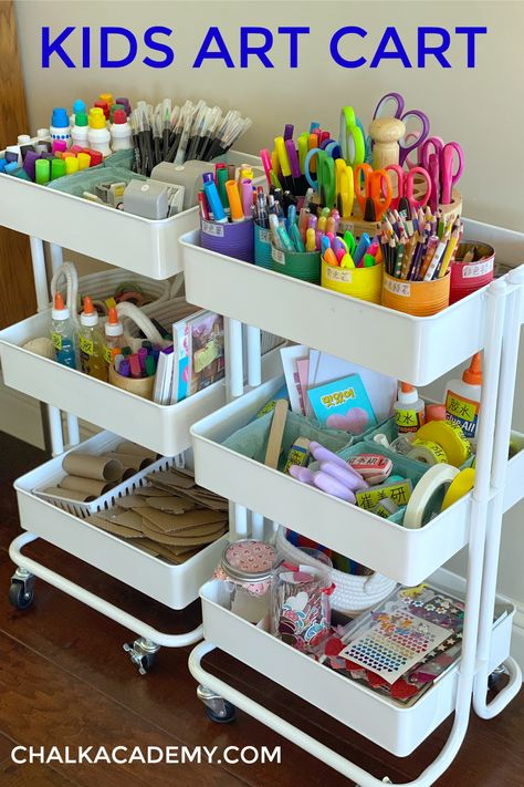 Our kids art cart has been a game changer for encouraging independence and creativity. An organized storage system with decluttering tips are helpful! Kids Art Storage, Art Supplies Storage, Arts And Crafts Storage, Craft Storage, Lego Storage, Paper Storage, Kids Art Station, Craft Station, Rangement Art