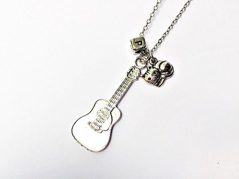 MUSICIAN GIFTS MUSIC JEWELRY CRYSTAL GUITAR TOGGLE NECKLACE