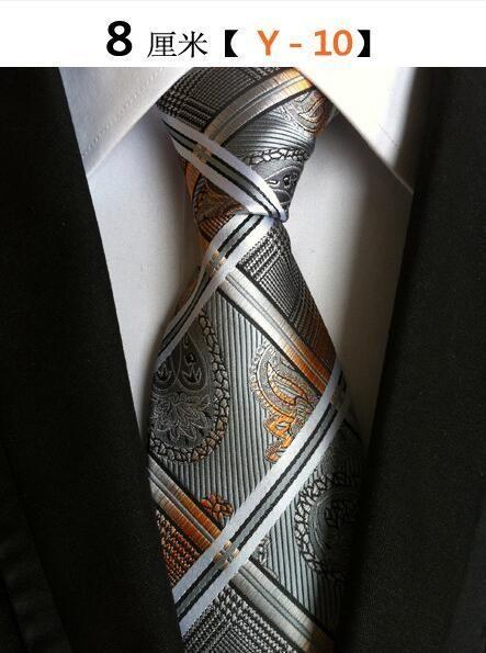 Brown Tie Blue and Black Patterned Handmade 100/% Silk Wedding Necktie 8cm Width