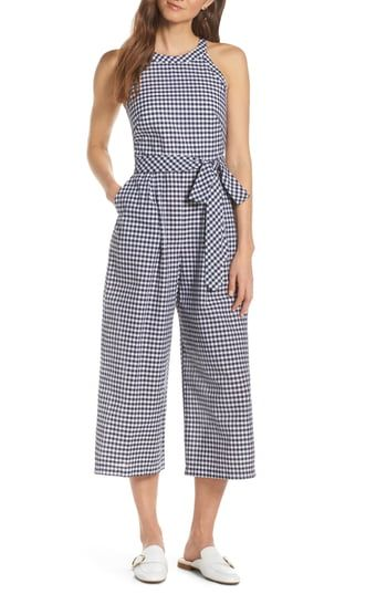 online shopping for 1901 Halter Neck Gingham Crop Jumpsuit from top store. See new offer for 1901 Halter Neck Gingham Crop Jumpsuit