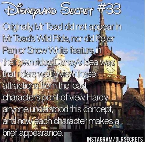 Disneyland secrets. If you think about it, this makes sense, based on how the rides play out. Even now.