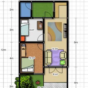 desain rumah sederhana 6x12 3 kamar tidur