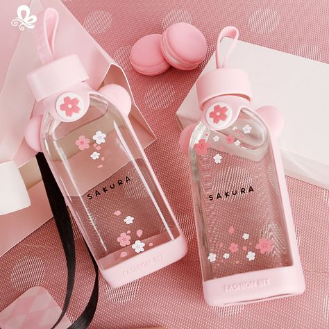 New Cute Glass Bottle Creative Cartoon Pink Cherry Blossom Glass Water Cup With Silicone Cover For Women Girl Drink Bottles