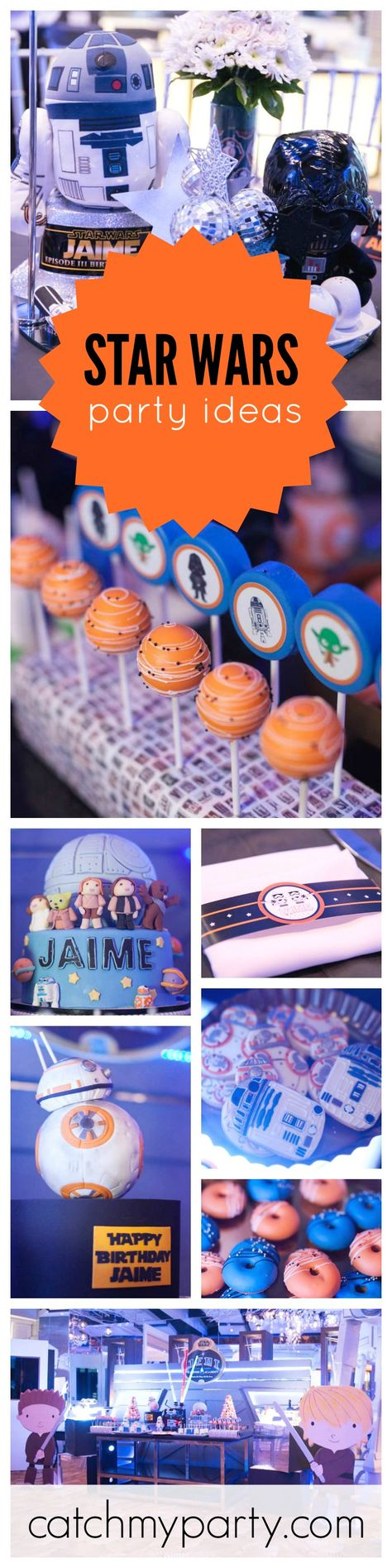 Any Star Wars fan would love a Birthday party like this one! So many 'out of this world' party ideas! Love the cakes and cookies!! See more party ideas at CatchMyParty.com