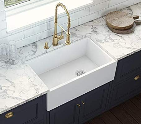 Ruvati 30 Inch Fireclay Farmhouse Offset Drain Kitchen Sink Single Bowl White Right Drain Rvl2018wr Amazon Offset Drain Kitchen Sink Sink Kitchen Sink